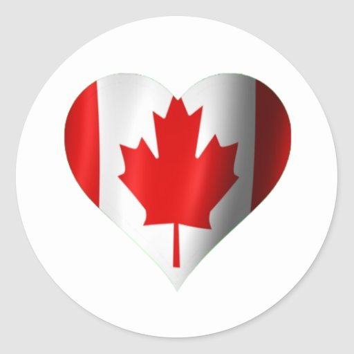 Canadian Flag Heart Classic Round Sticker
