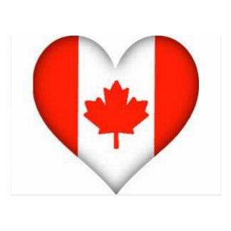 canadian flag heart design postcard