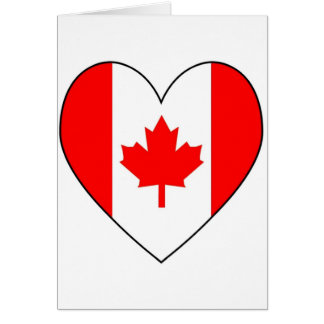 Canadian Flag Heart Valentine Greeting Card
