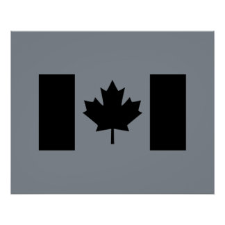 Canadian Flag in Black Graphic Poster