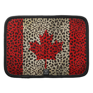 Canadian Flag in Leopard Spot Print Design Organizers