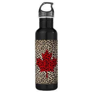 Canadian Flag in Leopard Spot Print Design Stainless Steel Water Bottle