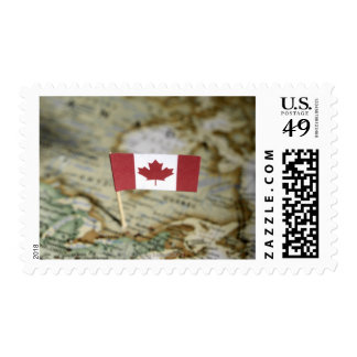 Canadian flag in map stamps