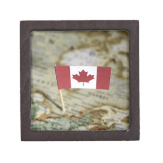 Canadian flag in map premium trinket boxes