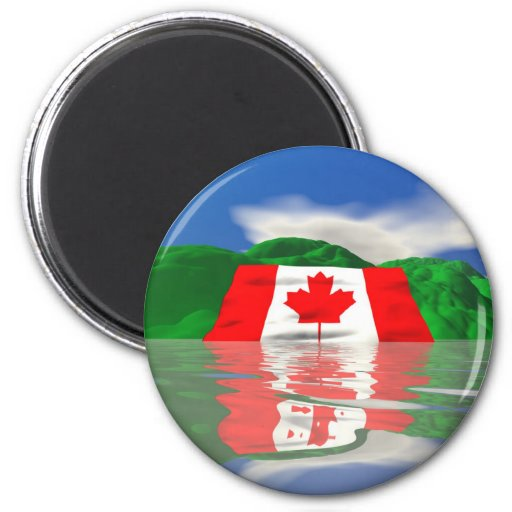 Canadian Flag Land 2 Inch Round Magnet