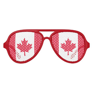 Canadian Flag Maple Leaf Red White Canada Aviator Sunglasses