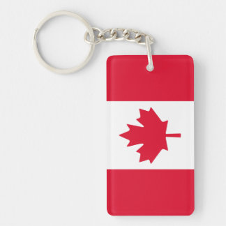 Canadian Flag Maple Leaf Red White Canada Double-Sided Rectangular Acrylic Keychain