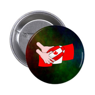 Canadian Flag Maple leaf Rugby Ball Button