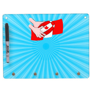 Canadian Flag Maple leaf Rugby Ball Dry Erase Board With Keychain Holder