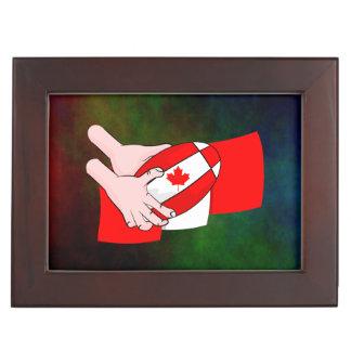 Canadian Flag Maple leaf Rugby Ball Keepsake Boxes