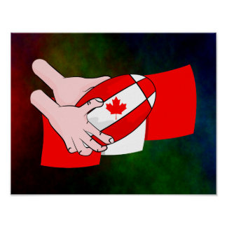 Canadian Flag Maple leaf Rugby Ball Poster
