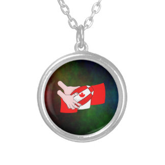 Canadian Flag Maple leaf Rugby Ball Silver Plated Necklace