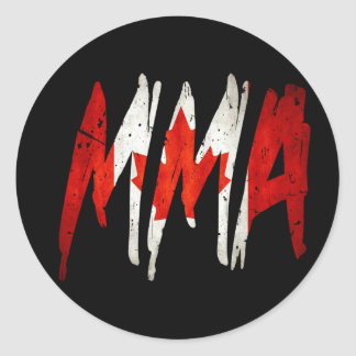 Canadian Flag MMA Round Stickers
