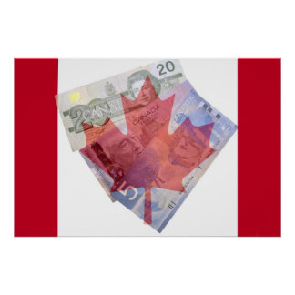 Canadian Flag & Money Poster