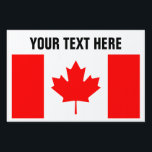 """Canadian flag of Canada custom yard signs<br><div class=""""desc"""">Canadian flag of Canada custom yard signs. Stick it in the ground with H frame. Create your own lawn signage for Canada Day party,  welcome home,  events,  wedding,  politics,  political support,  national holidays,  family reunions,  Birthday etc. Red maple leaf flag.</div>"""