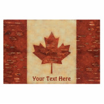 Canadian Flag On Inner Birch Bark Cutout