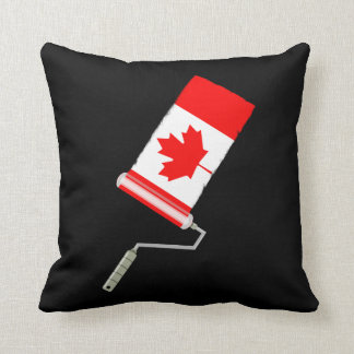 Canadian Flag Paint Roller Throw Pillow