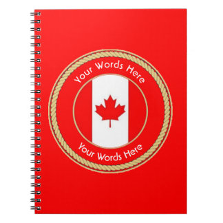 Canadian Flag Rope Shield Notebook
