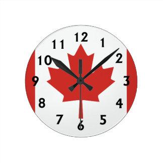 Canadian Flag Round Clock