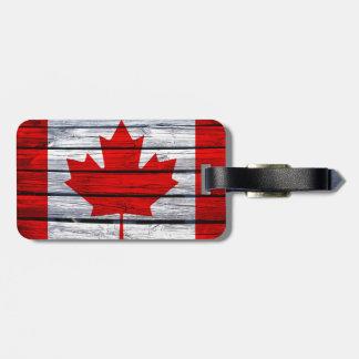 Canadian Flag Rustic Wood Bag Tag