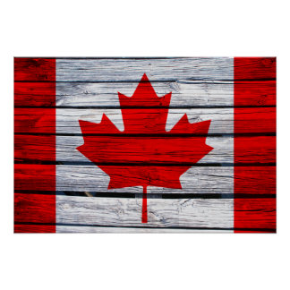 Canadian Flag Rustic Wood Print