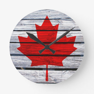 Canadian Flag Rustic Wood Round Clock