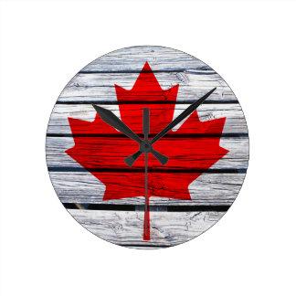 Canadian Flag Rustic Wood Round Clock