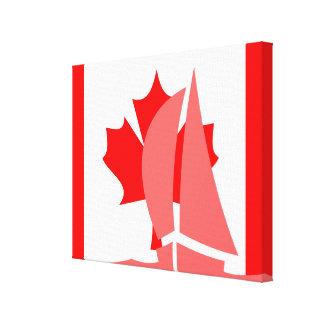 Canadian Flag Sailing Yacht Nautical Canada Canvas Print