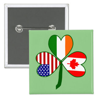 Canadian Flag Shamrock Button