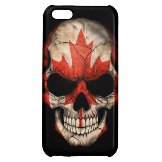 Canadian Flag Skull on Black Cover For iPhone 5C