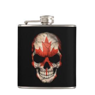 Canadian Flag Skull on Black Hip Flask