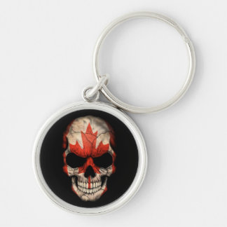 Canadian Flag Skull on Black Silver-Colored Round Keychain