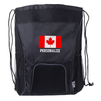 Canadian flag sports drawstring backpack