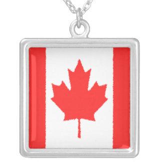 Canadian Flag Square Pendant Necklace