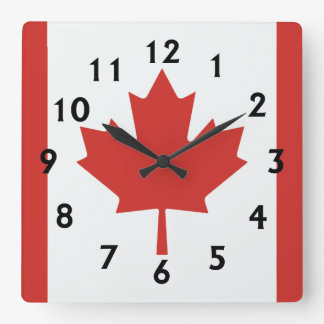 Canadian Flag Square Wall Clock