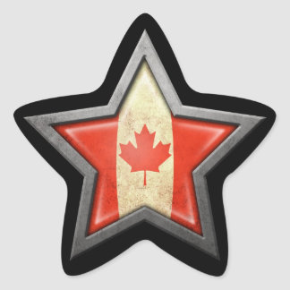 Canadian Flag Star on Black Star Sticker