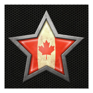 Canadian Flag Star with Steel Mesh Effect Card