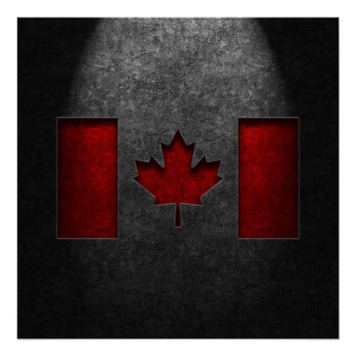 Canadian Flag Stone Texture Poster