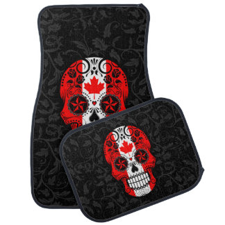 Canadian Flag Sugar Skull with Roses Floor Mat