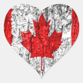 Canadian Flag Tree Bark Heart Sticker