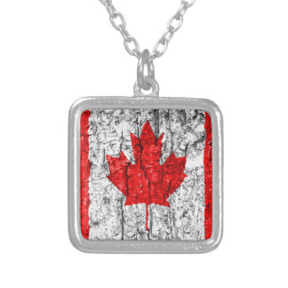 Canadian Flag Tree Bark Silver Plated Necklace