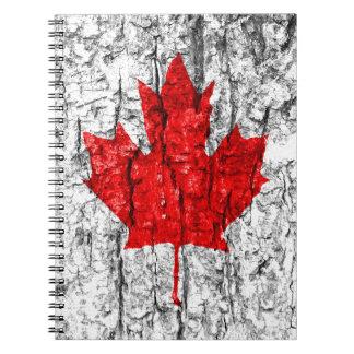 Canadian Flag Tree Bark Spiral Notebook
