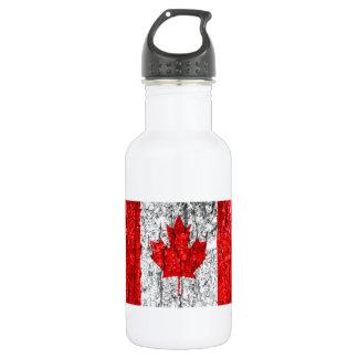 Canadian Flag Tree Bark Stainless Steel Water Bottle
