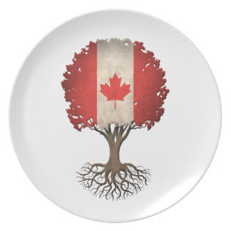 Canadian Flag Tree of Life Customizable Party Plate