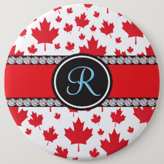 Canadian Flag Trendy Maple Leaf Abstract Monogram Pinback Button