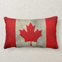 Canadian Flag Vintage Grunge Style Throw Pillow