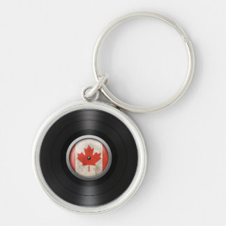 Canadian Flag Vinyl Record Album Graphic Silver-Colored Round Keychain
