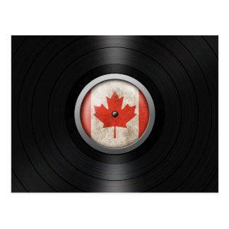 Canadian Flag Vinyl Record Album Graphic Postcard