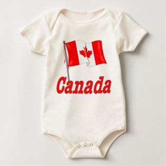 Canadian Flag Waving Baby Bodysuit