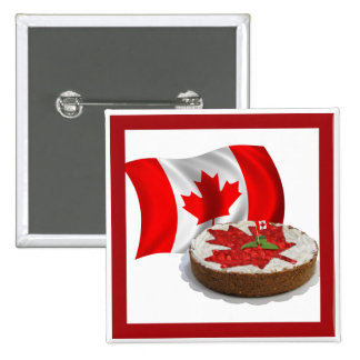 Canadian Flag with Cherry Maple Leaf Cake 2 Inch Square Button